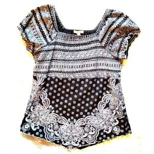 Black And White Peasant Blouse
